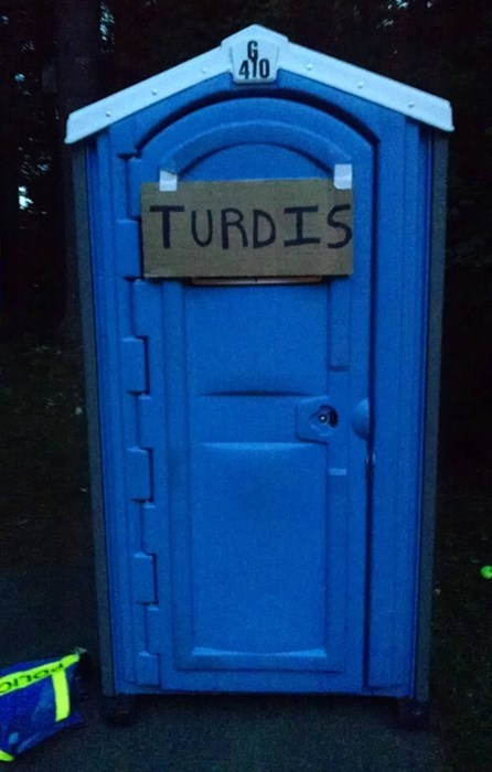 porta potty tardis doctor who hacked irl fail nation g rated
