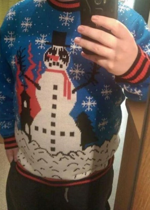 goth scarf poorly dressed cross top hat sweater snowman g rated