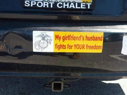 bumper sticker,girlfriend,husband,cheating,funny,g rated,dating
