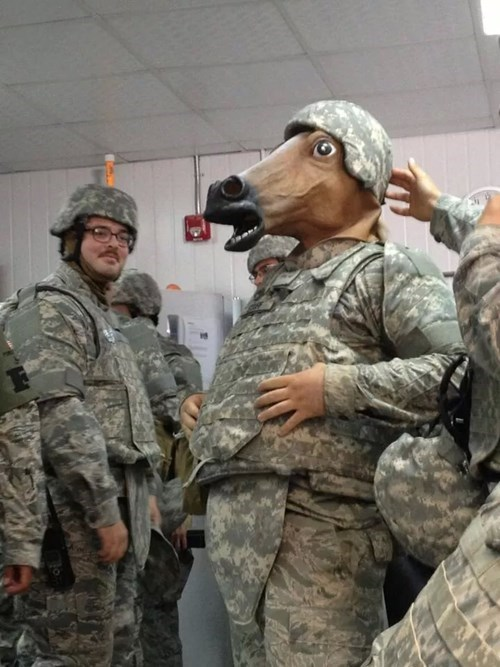 horse masks,soldiers