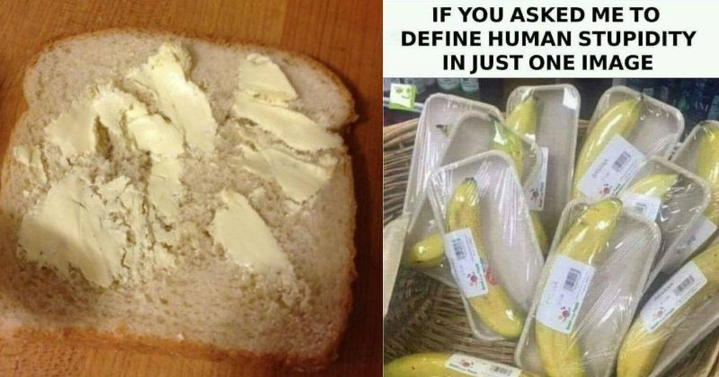 piece of bread with hard butter and bananas wrapped in plastic