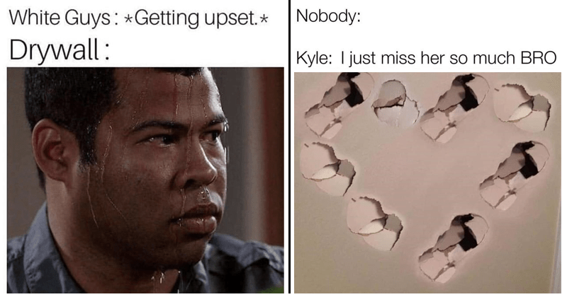 'Kyle Punches Drywall' memes, memes about white guys named kyle that like punching drywall, white boy memes, memes about white guys.