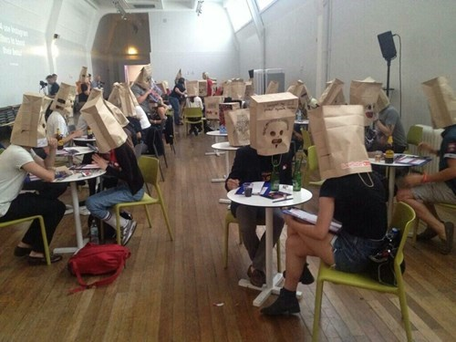 wtf speed dating bag on head funny - 8375985152