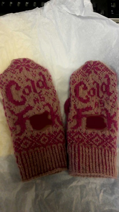 cold mittens poorly dressed - 8376970496