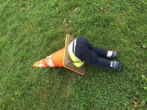 traffic cone,kids,stuck,parenting