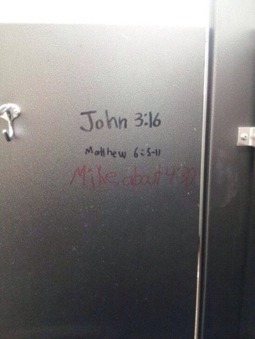 bathrooms,graffiti,vandalism,bible verses