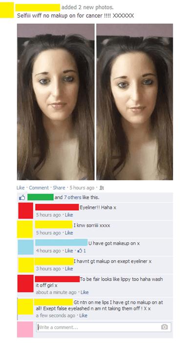 makeup,facepalm,selfie