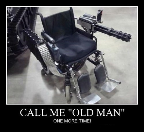 guns old guy wheelchair funny - 8379453952
