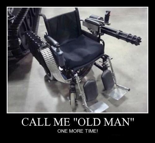guns old guy wheelchair funny - 8379453952