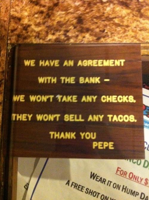 monday thru friday bank sign restaurant check - 8379924736