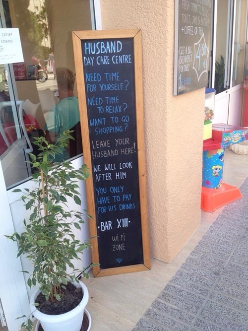 sign,husband,pub,day care,funny,after 12,g rated