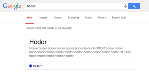 hodor Game of Thrones nerdgasm google - 8380248064
