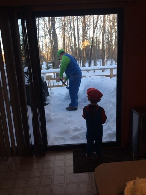 costume,kids,snow,parenting,luigi,Super Mario bros,mario,shovel,g rated
