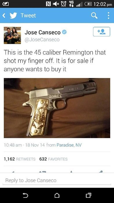 jose canseco,guns,twitter,baseball,for sale