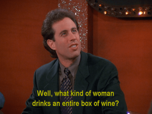 box of wine,wine,seinfeld,funny