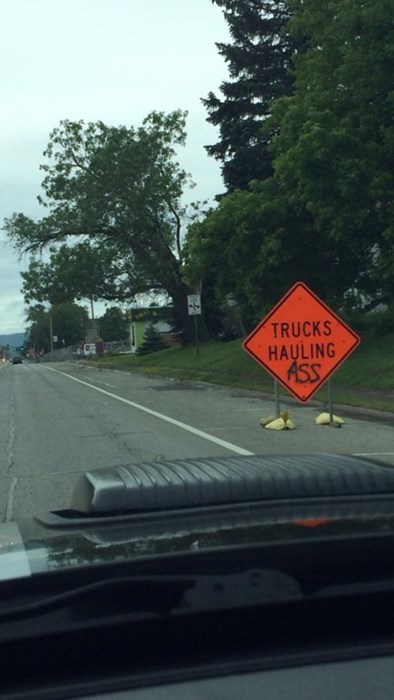 monday thru friday,sign,road work,hauling