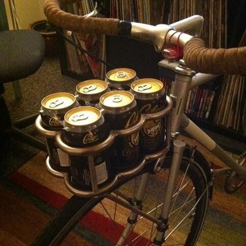 beer,six pack,bike,funny