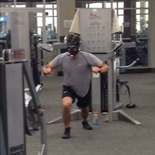 gym,gas mask,what,weird