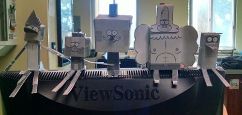 monday thru friday,regular show,papercraft,cubicle