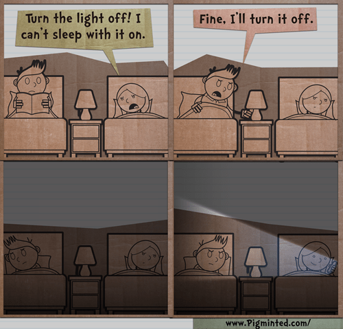 phones,bed,sad but true,web comics,Lights Out