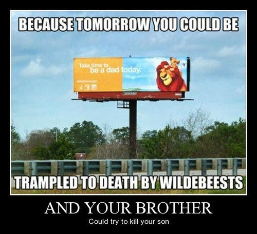wtf brother wildebeest dad lion king funny - 8384879616