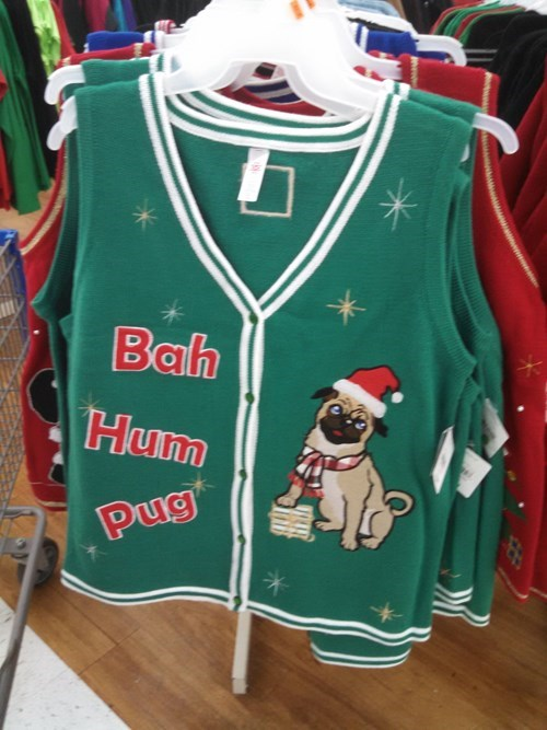 pug,poorly dressed,vest,puns,sweater,christmas sweaters,g rated