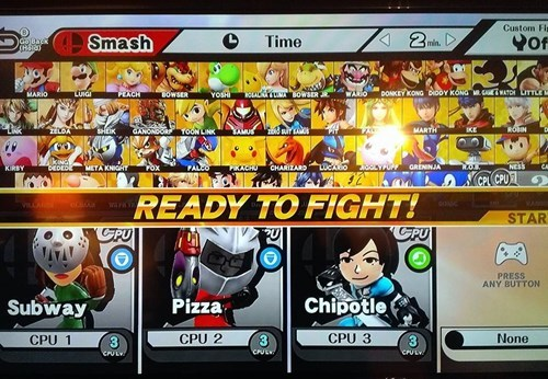 super smash bros,dinner,food