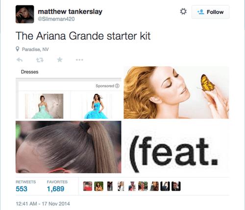 Hair - matthew tankerslay Follow eSlimeman420 The Ariana Grande starter kit Paradise, NV Dresses Sponsored |(feat. RETWEETS FAVORITES 553 1,689 12:41 AM-17 Nov 2014