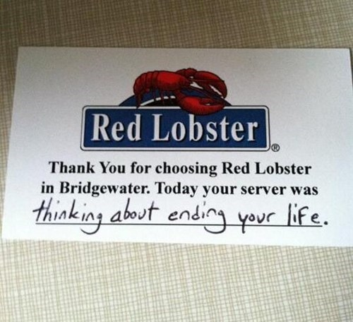 monday thru friday waiter restaurant red lobster
