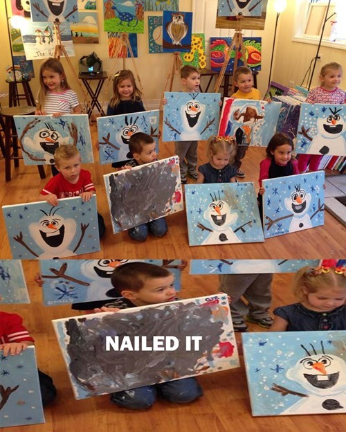 school,art,kids,olaf,parenting,frozen,painting,Nailed It
