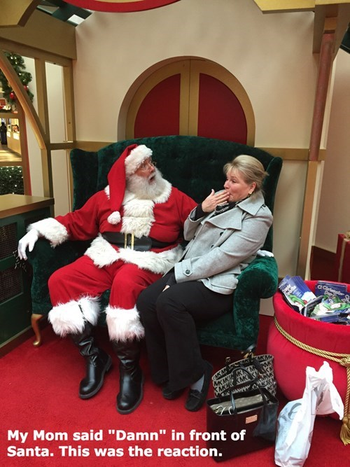 expression,parenting,santa,reaction,mom