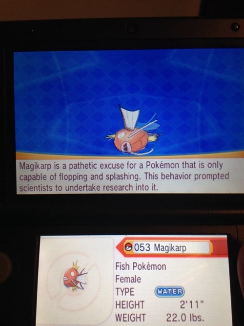 Pokémon ORAS magikarp pokedex entry - 8386185984