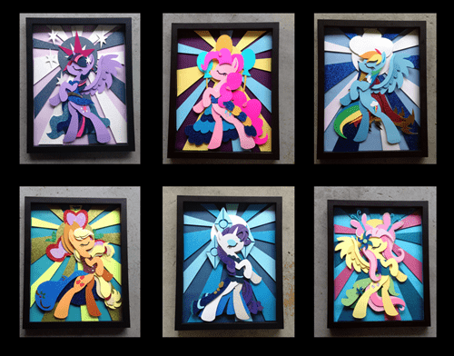 mane 6,art,shadow,stained glass