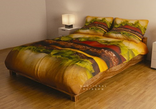 bed,design,sheets,cheeseburger