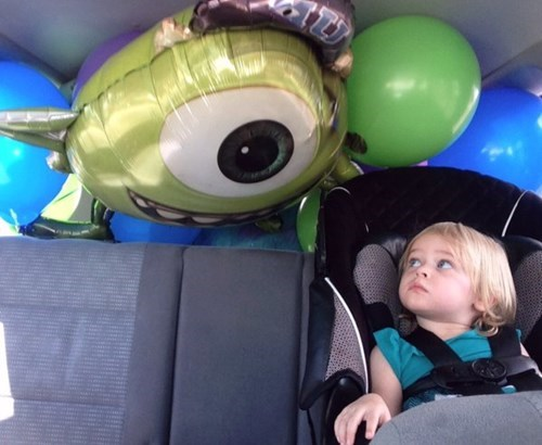 car seat,kids,im-watching-you,Balloons,parenting,mike wazowski