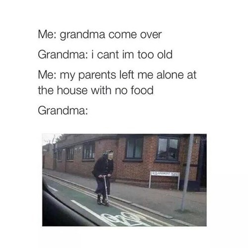 grandma,scooter,parenting,food