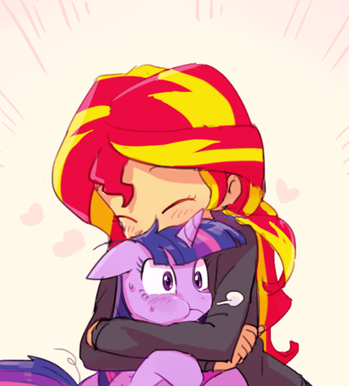 twilight sparkle,hugs,sunset shimmer