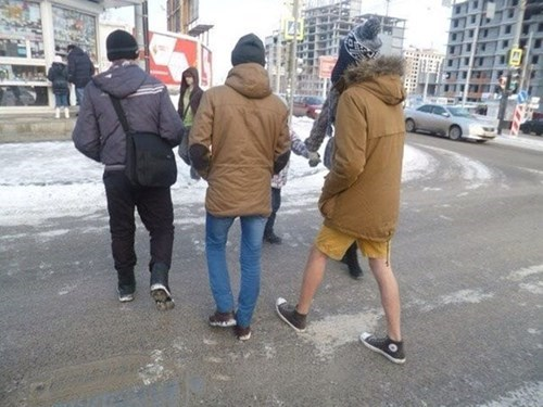 shorts poorly dressed cold winter