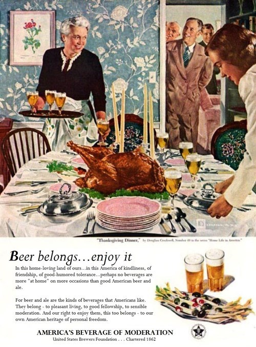 beer,thanksgiving,ads,funny,vintage
