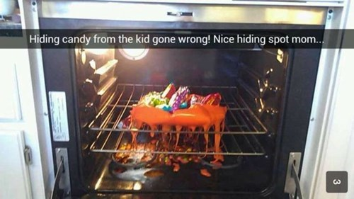 candy melting parenting mom hiding oven g rated