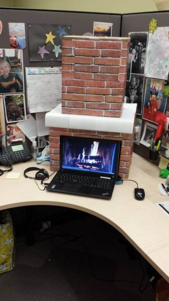 monday thru friday cozy fireplace cubicle g rated - 8387964928