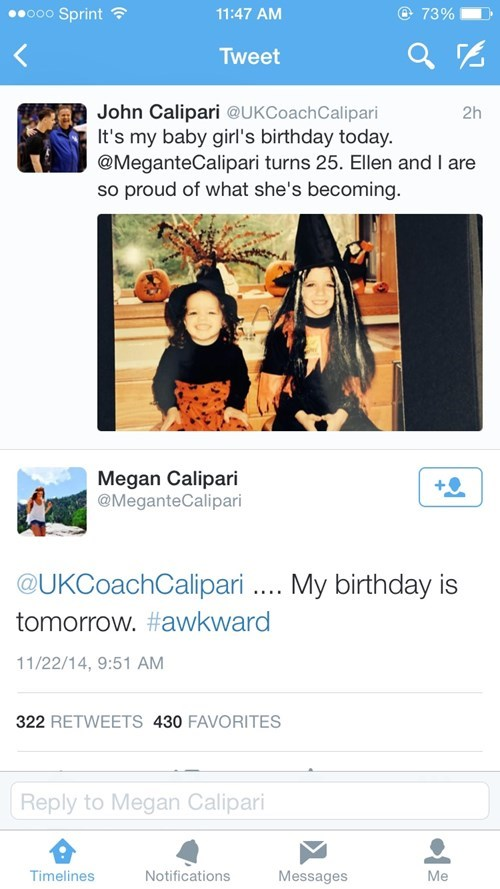 twitter,birthdays,john calipari,kentucky,parenting