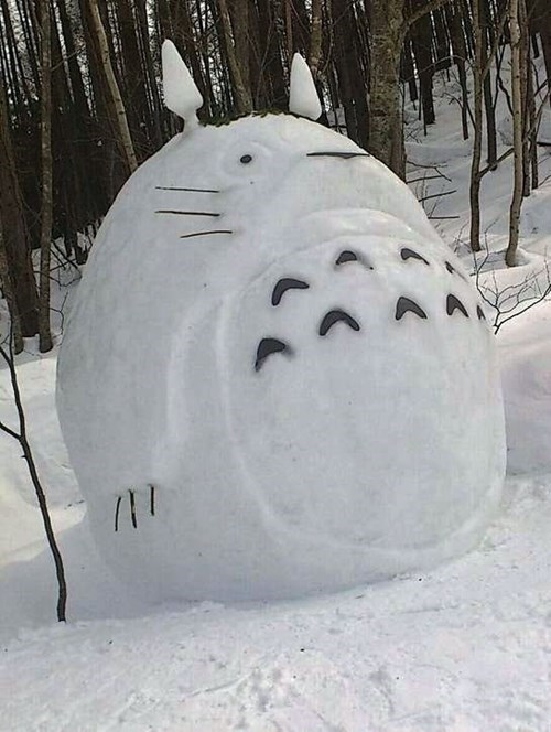 anime winter my neighbor totoro snowman - 8388294144