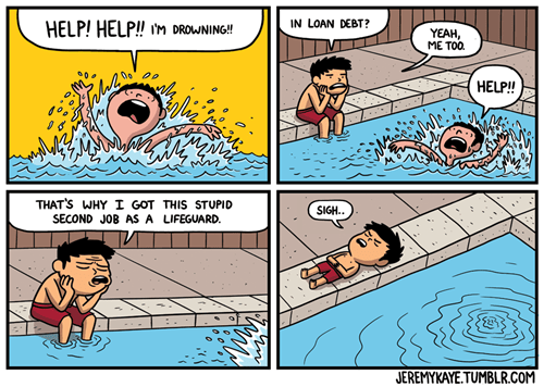 in this economy,sad but true,pool,drowning,web comics