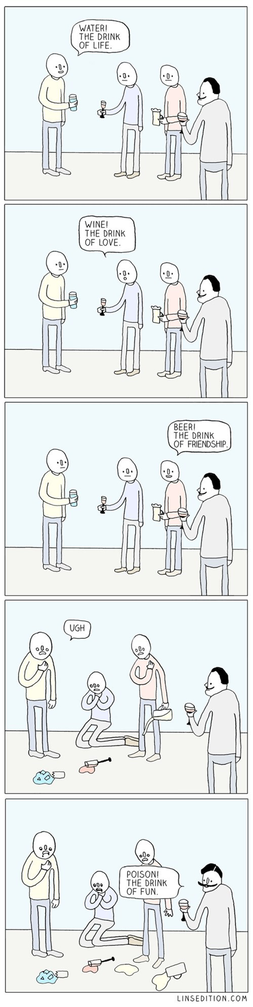 beer drinking water poison wine web comics - 8389368576