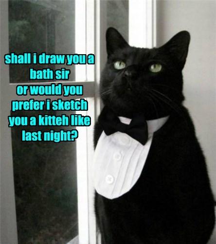 shall i draw you a bath sir or would you prefer i sketch you a kitteh like last night?