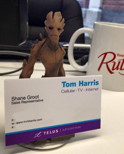 monday thru friday,business card,groot,g rated