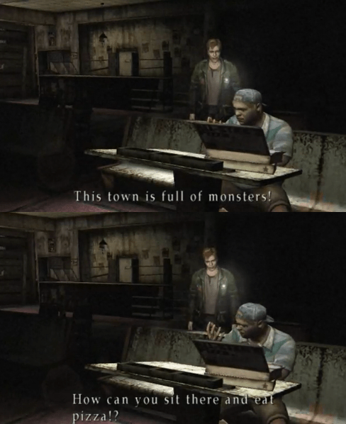 pizza,silent hill,video games,monster