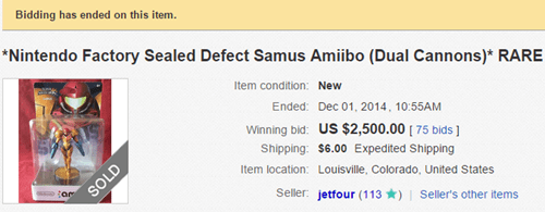 This Defective Samus Amiibo Sold for $2500