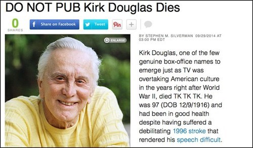 news whoops kirk douglas obituary celeb Probably bad News g rated fail nation - 8391331328